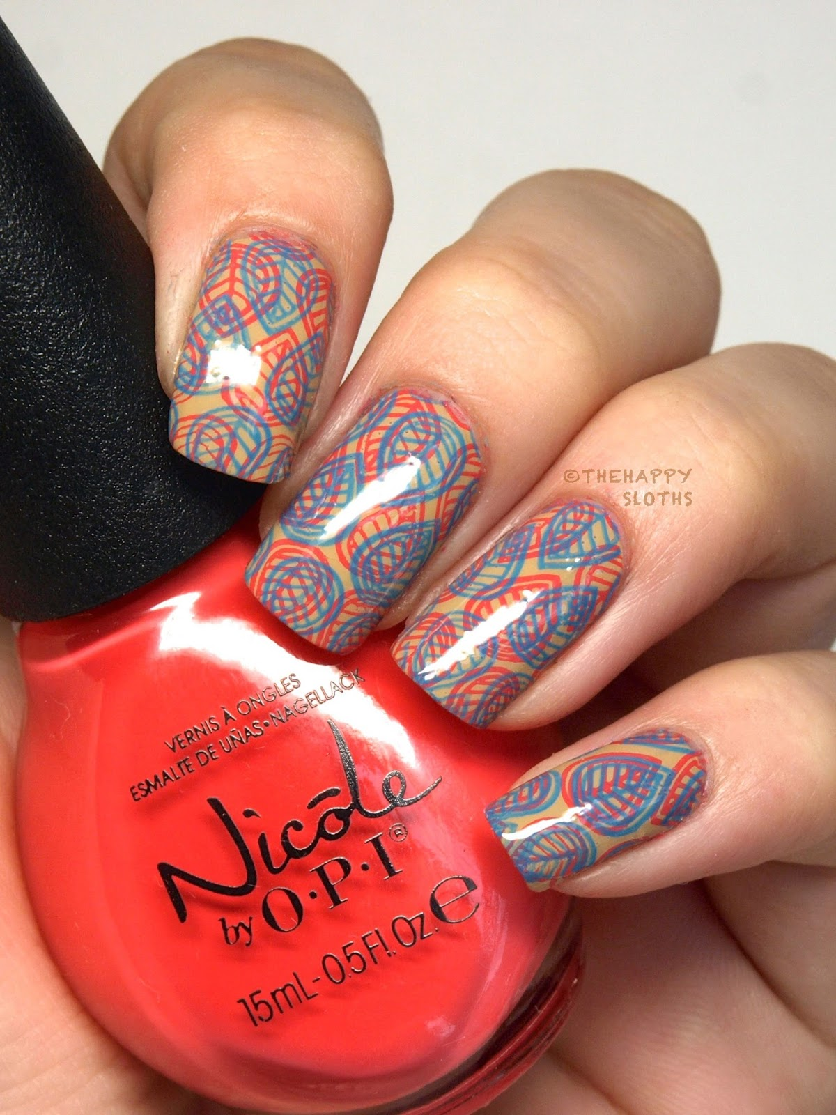 Neon On Nude Double Stamping Nail Art Design The Happy Sloths