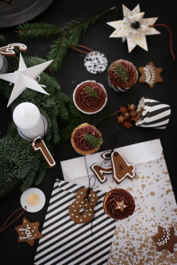 Lebkuchenzahlen und Lebkuchen-Cupcakes mit Orangen-Schokoladencreme