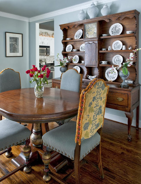 dining room filled with antique details in traditional style