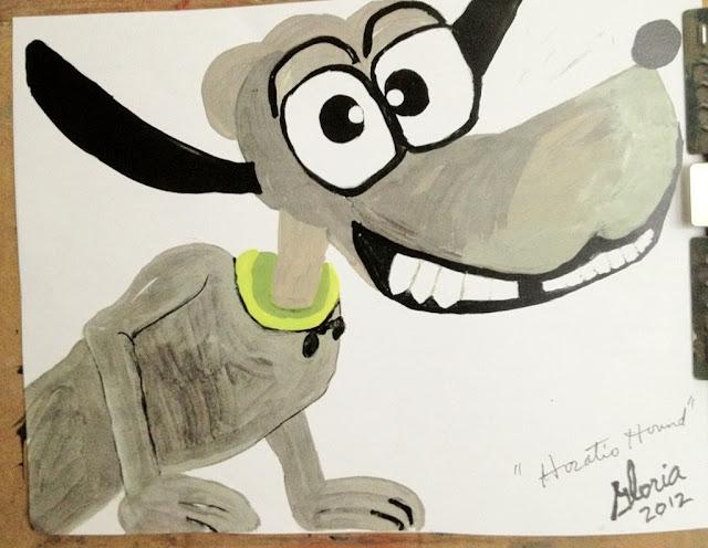 Horatio Hound cartoon by Gloria Poole in yr 2012; acrylics