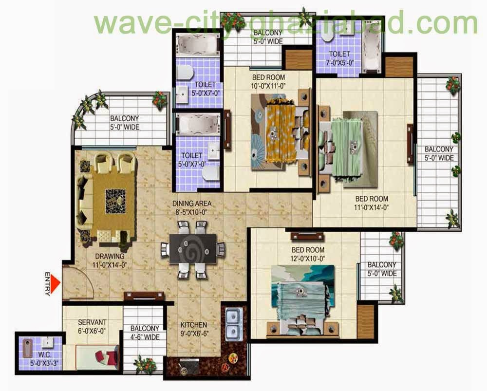 Wave City Mantra Meadows 3BHK APARTMENT / 1690 SQFT