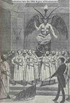 """Iniciación en el grado 18 de la Masonería. Pintura de los antiguos adoradores de """"Shatán""""*"""