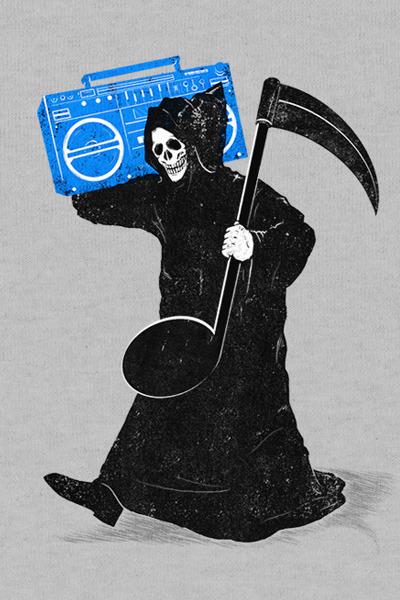 Manden med leen leverer musik til dødedansen
