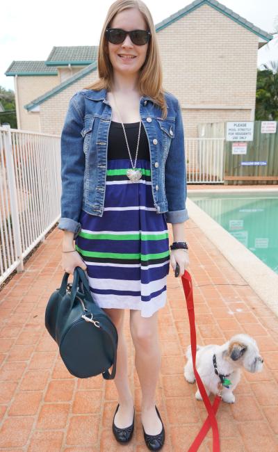 away from blue australian summer casual Friday office outfit denim jacket stripe dress