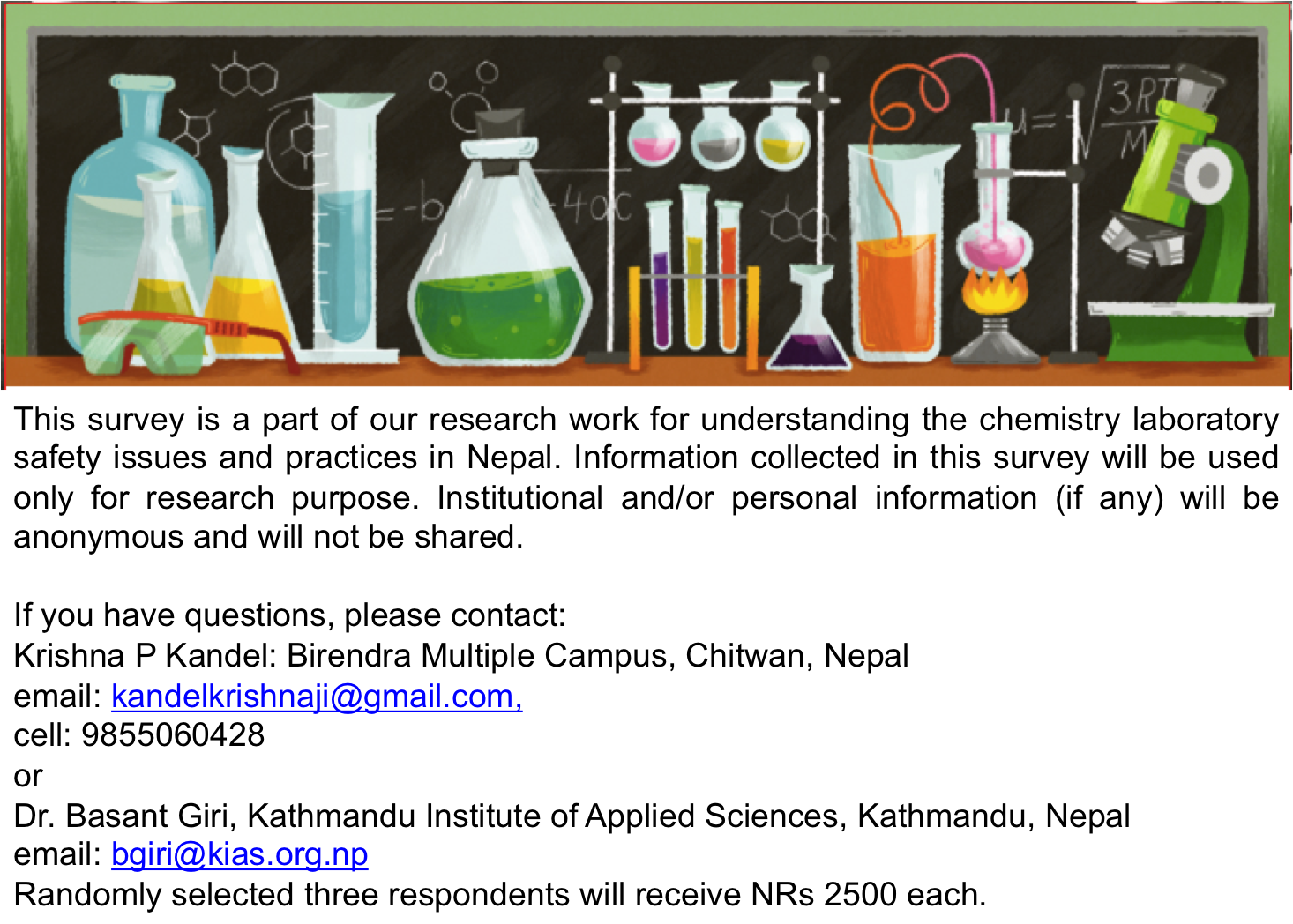 Do you teach chemistry in Nepal? Please complete the survey. Click on the information below.