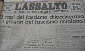 La prima pagina de L'Assalto del 27 agosto del 1921