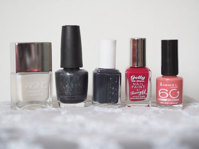Nails Inc Nail Kale Illuminator, OPI Nail Lacquer - On Her Majesty's Secret Service, Essie Nail Lacquer - 201 Bobbing For Baubles, Barry M Gelly Hi-Shine Nail Paint in GNP 9 Pomegranate, Rimmel London 60 Seconds - 405 Rose Libertine
