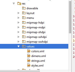 Lokasi file Project Values Android Studio