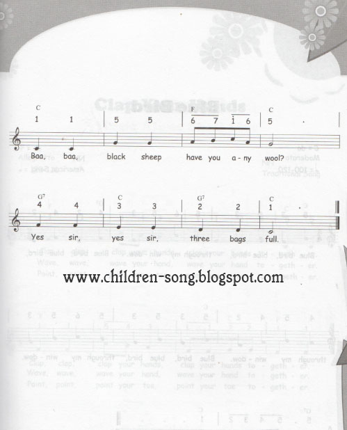 Baa, Baa, Black Sheep Children Song with Notes