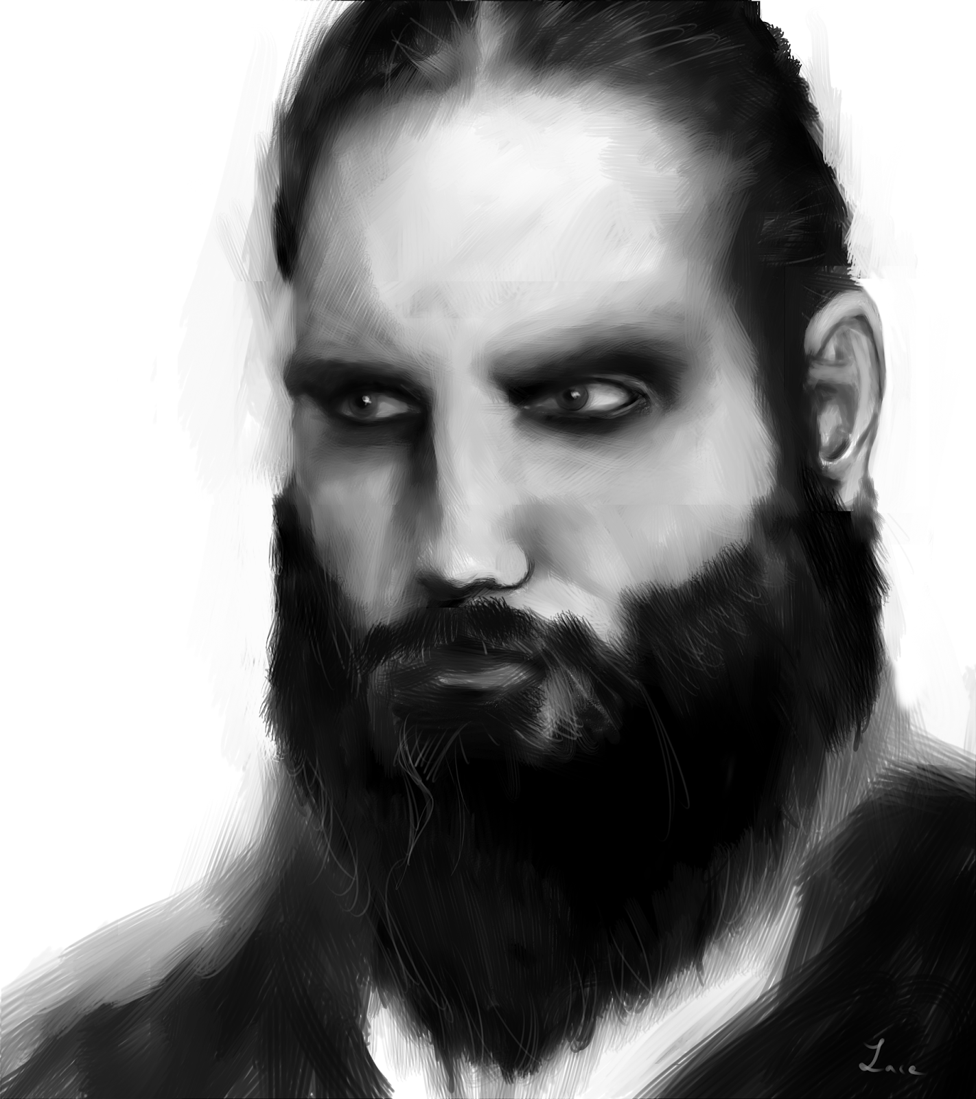 digital dessin wacom barbe homme