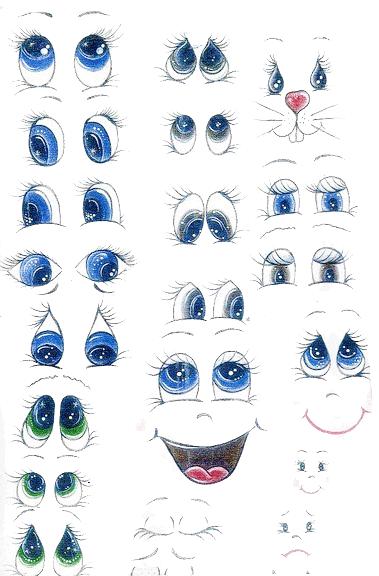 dibujos de ojos coloreados de fofuchas