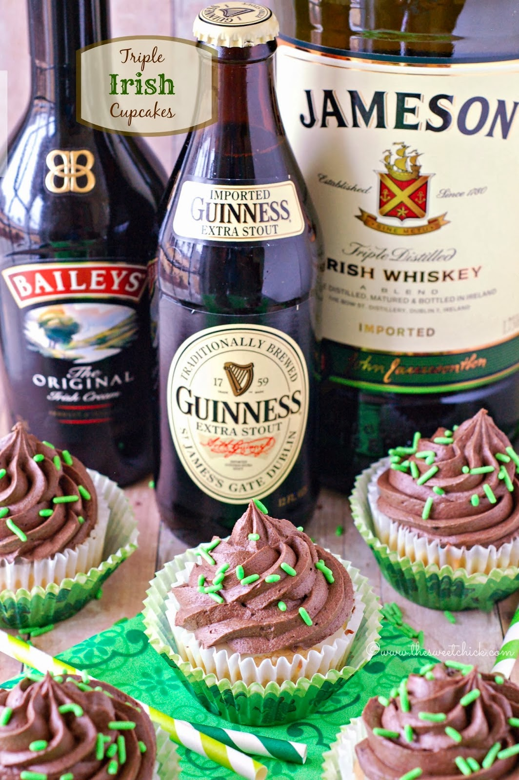 Triple Irish Cupcakes @www.thesweetchick.com