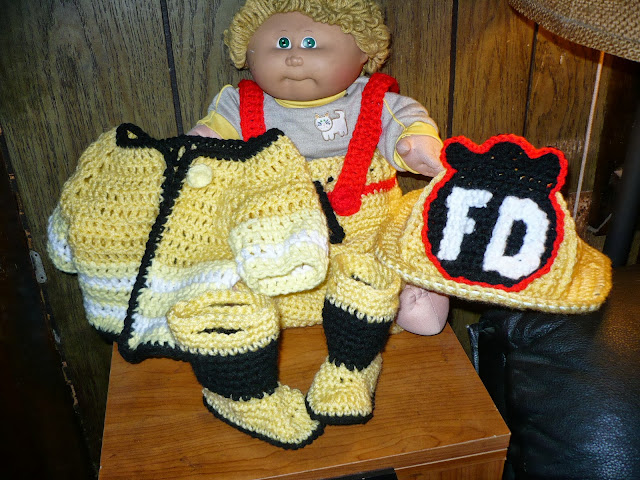 Crochet Patterns For Baby Frocks : Stitches: Crochet Fireman Infant Outfit - Photo Prop