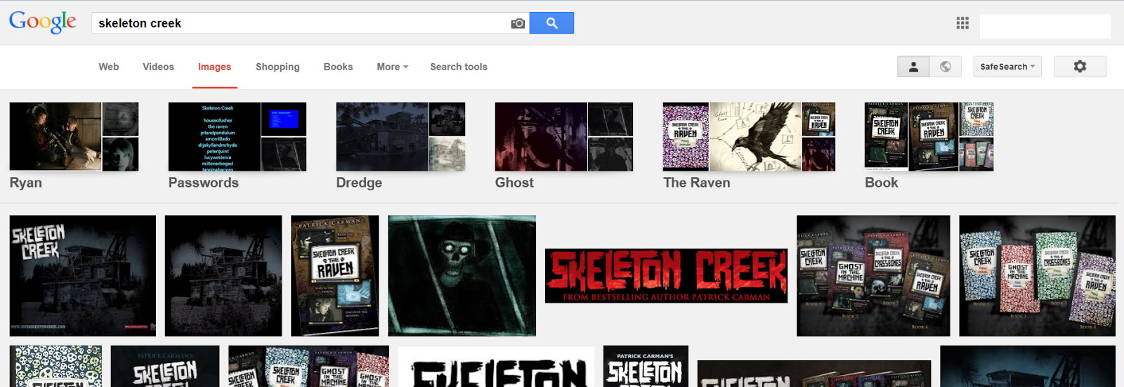 Google Images for Skeleton Creek to be chosen for book review trailer