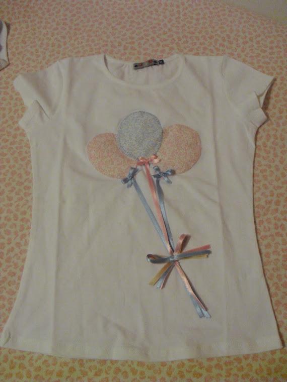 Camiseta globos. A juego con coletero, ranitas o diademas