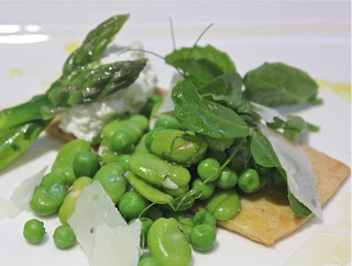 ASPARAGUS, BROAD BEAN AND PEA TART