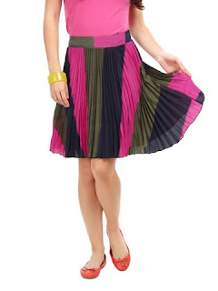 PINK & OLIVE STRIPED PLEAT SKIRT