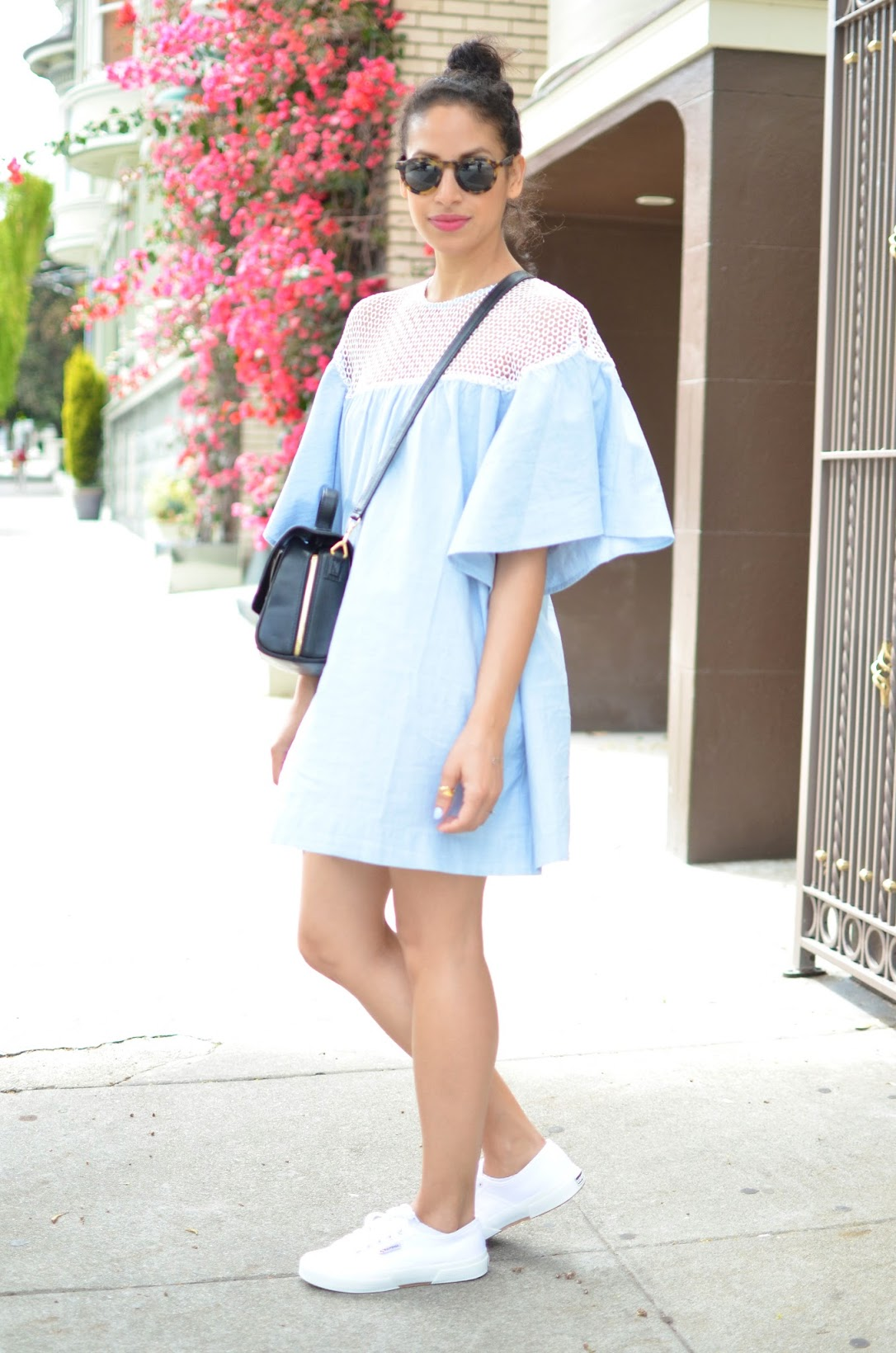 OOTD, baby blue dress, oversize ruffles, Superga sneakers, Urban Outfitters dress, mesh lace insert dress, SF style, summer style, SF style, Ectu LA bag, tortoise shell sunglasses,