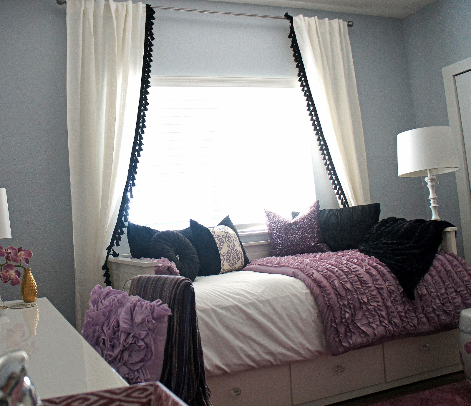 Here Is Isabellau0027s Bed And Window After The New DIY Tassel Curtains Were  Hung. ***LOVE***