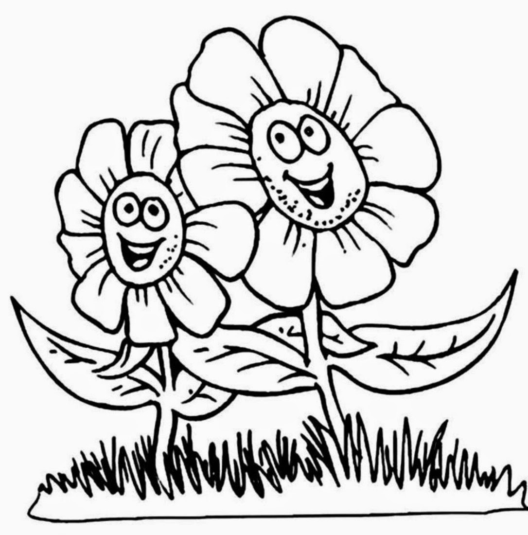Free Flower Cartoon Coloring Pages For Kids Printable