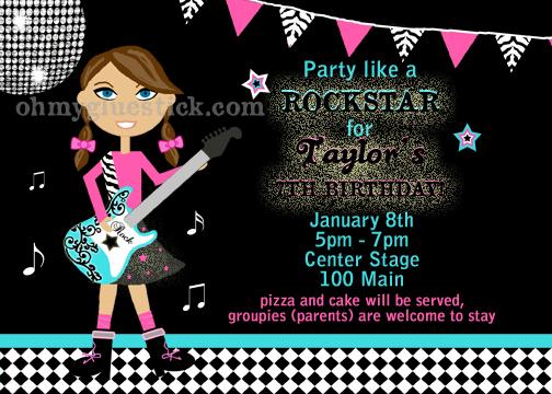 Similiar Rock Star Dance Party Invitations Keywords – Rockstar Party Invites