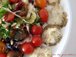 Ensalada templada de setas y mozzarella