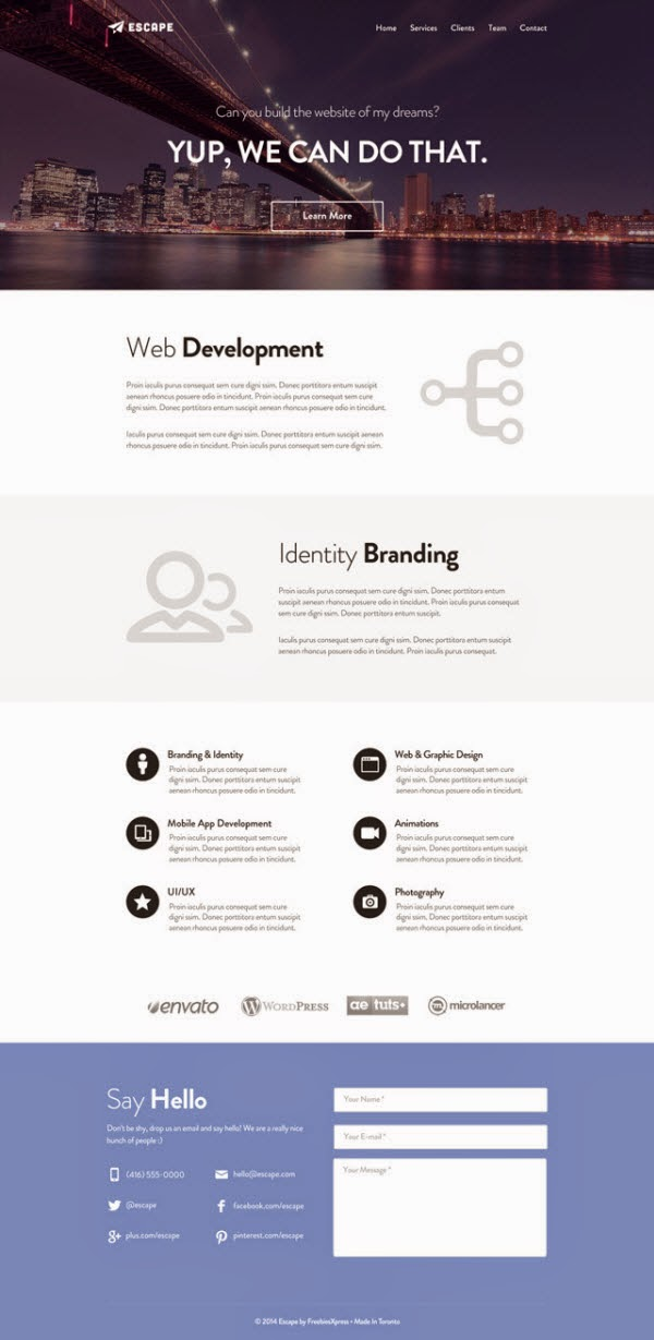 One page holding page PSD design