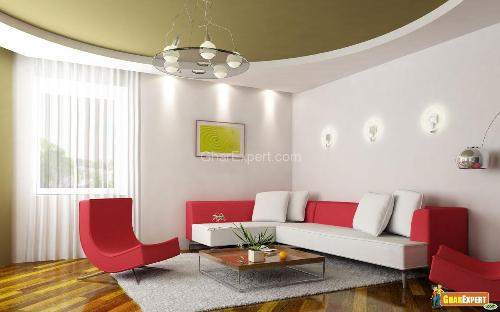 rounded PVC ceiling for living room with fall and illuminating ...