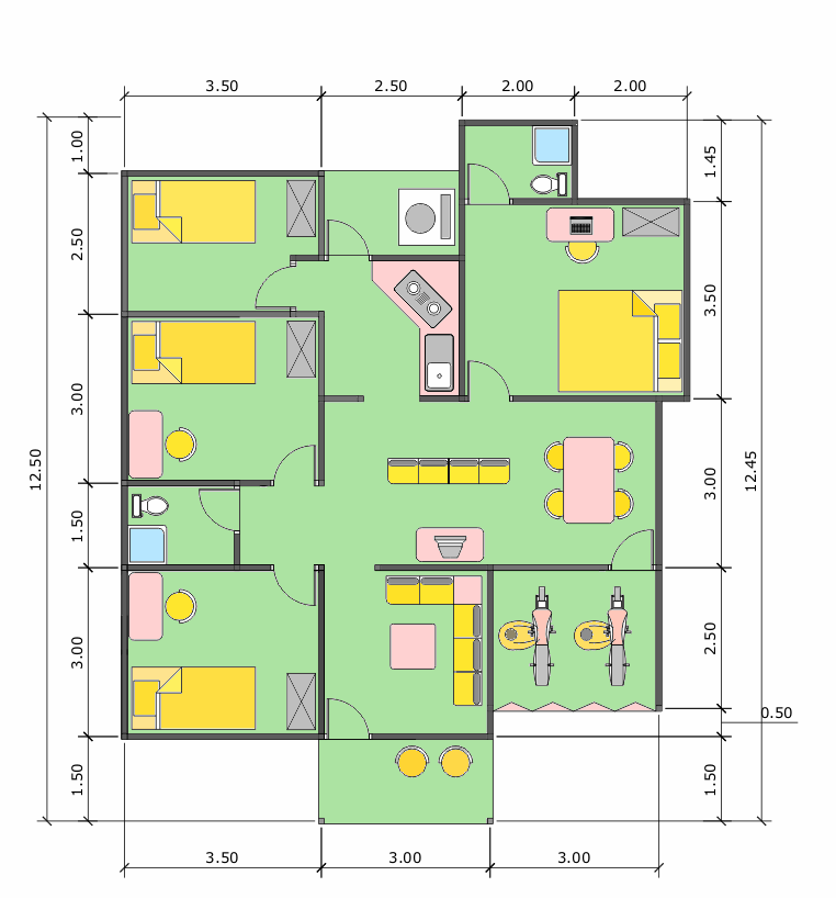 Gambar Denah Rumah Minimalis+Ukurannya