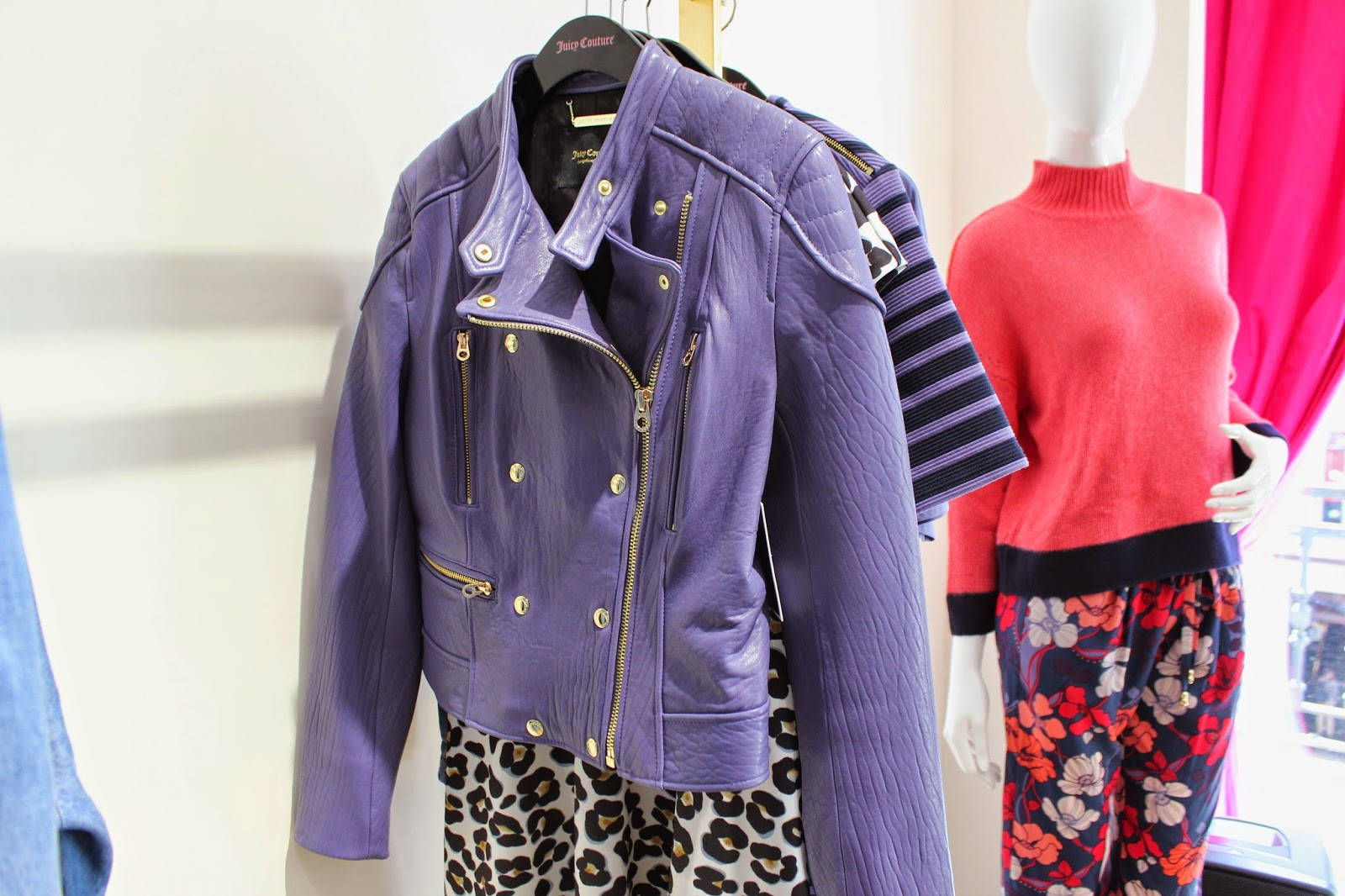 georgie-georgina-minter-brown-fashion-blogger-actress-juicy-couture-press-day-fall-2015-clothes-new-style-leather-purple-jacket