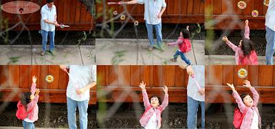 burbujas, niña atrapando burbujas