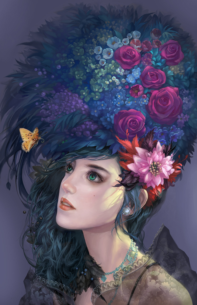 fancy hairdo,digital art girl,fantasy girl