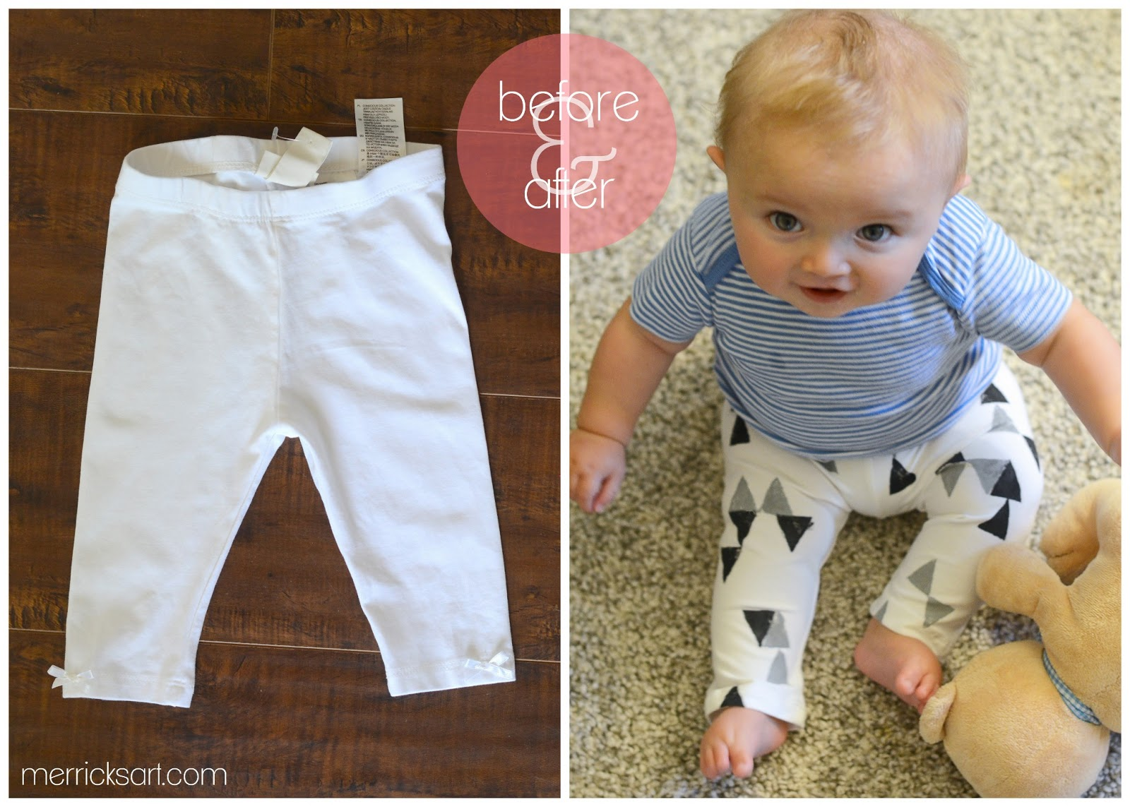 This baby leggings pattern and tutorial gives you the option of using a one piece pattern for no side seams, or you can use two pieces for side seams! Side seams in baby leggings are wonderful for the placement of ruffles and for when you are recycling clothing into baby leggings.