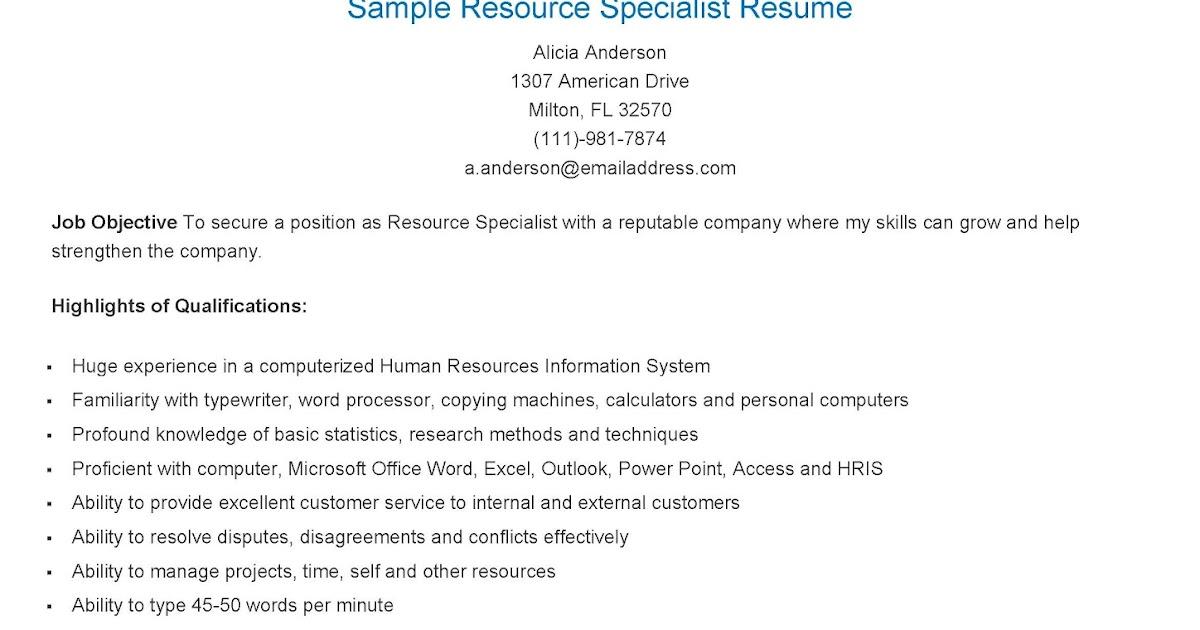Typing speed resume sample