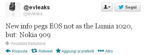 Evelaks tramite il suo account twitter ha affermato che sarà il Nokia EOS sarà Lumia 909 e non Lumia 1020 come si pensava prima