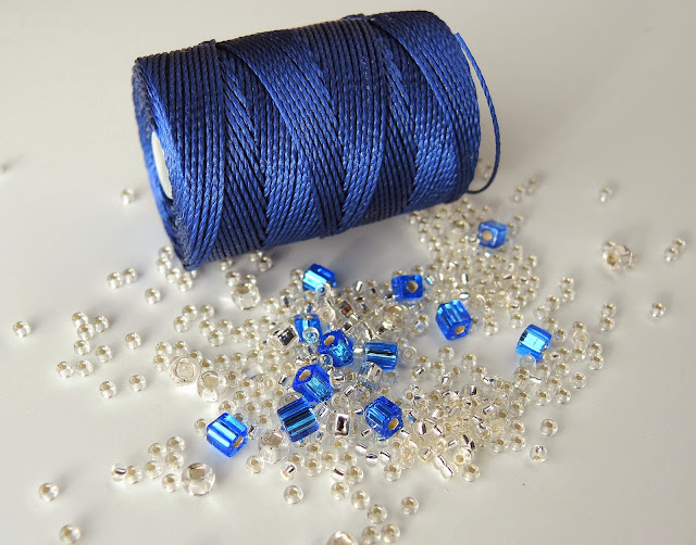Blue c-lon cord and sparkling beads for micro macrame
