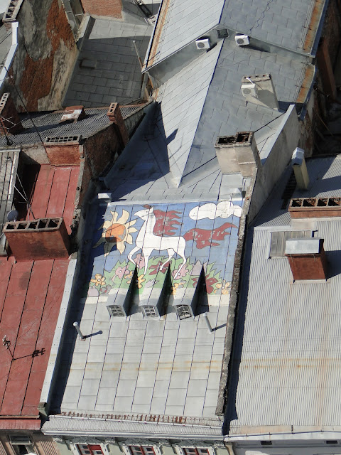 Somebody painted a horse on a roof, Lviv, Ukraine