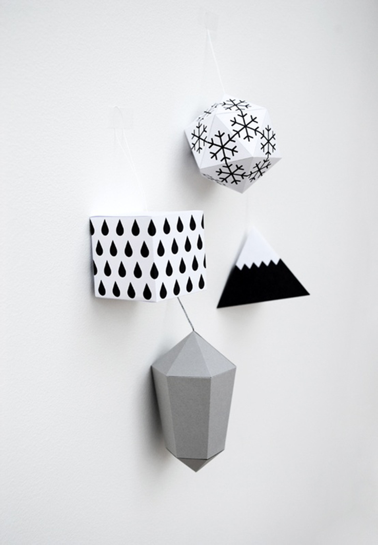 paper christmas decoration in black and white