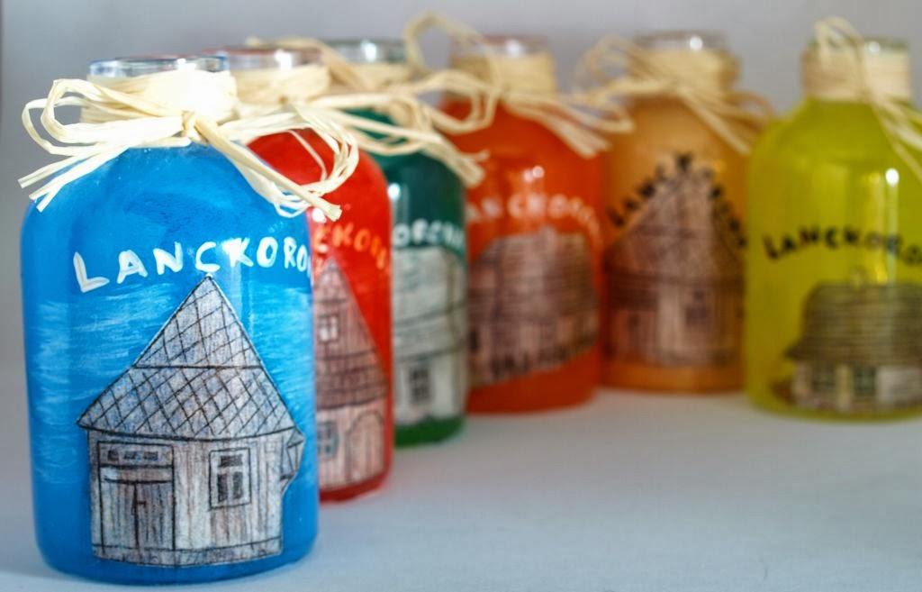 Słoiczki, butelki ręcznie malowane - malowanie i decoupage na szkle Lanckorona