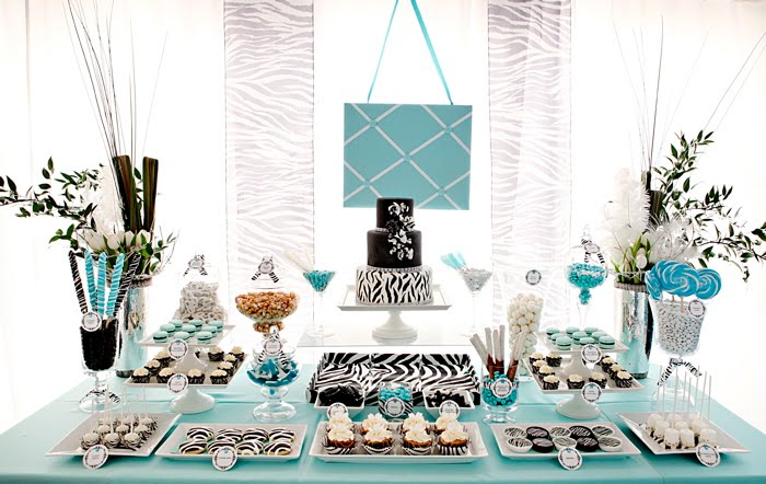 Tiffany blue zebra print dessert table the couture cakery i was invited to do a dessert table for the knot tent at the i do in style bridal showcase the color theme was tiffany blue and white and a black and junglespirit Images