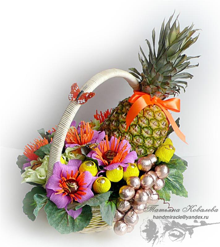 Композиция из фруктов и конфет своими руками 46