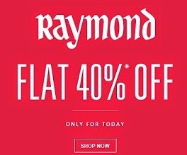 Flat 40% Off + Extra 40% Off on Raymond's Men Clothing @ Jabong