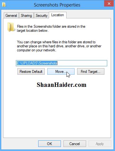 how to change where screenshots are saved
