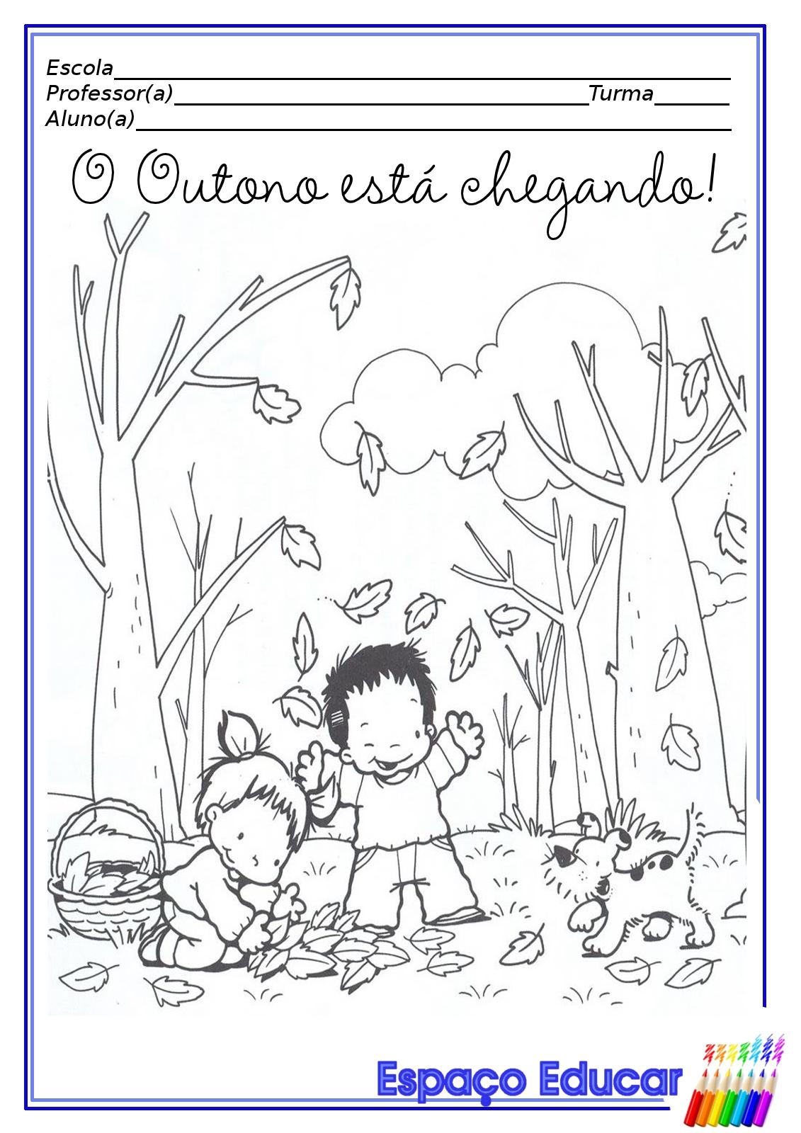 desenhos de outono para colorir pintar imprimir espaÇo educar