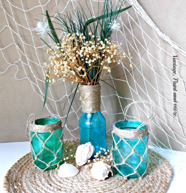 "Vintage, Paint and more... ""faux"" painted sea glass candle holders and vase"