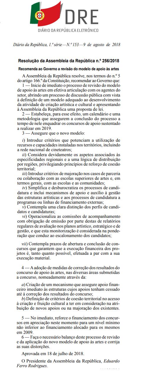 PARA CONTROLO PÚBLICO DE RESOLUÇÃO DA ASSEMBLEIA DA REPÚBLICA NA ESFERA DAS ARTES