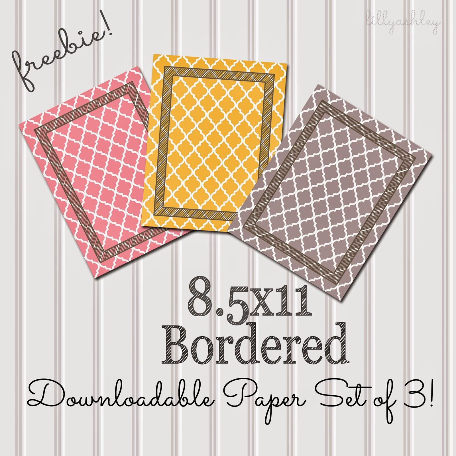Quatrefoil Gray Yellow Pink 8.5x11 Border