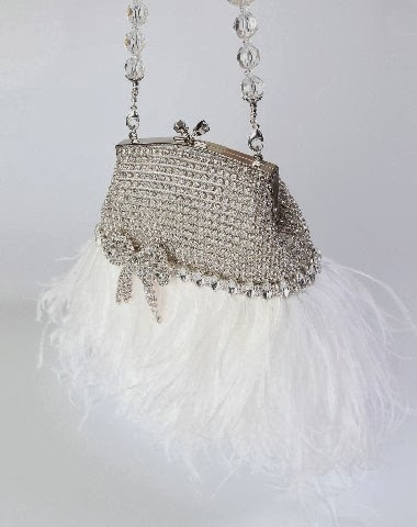 Rhinestone Bridal Clutch Purse Vintage Style with White