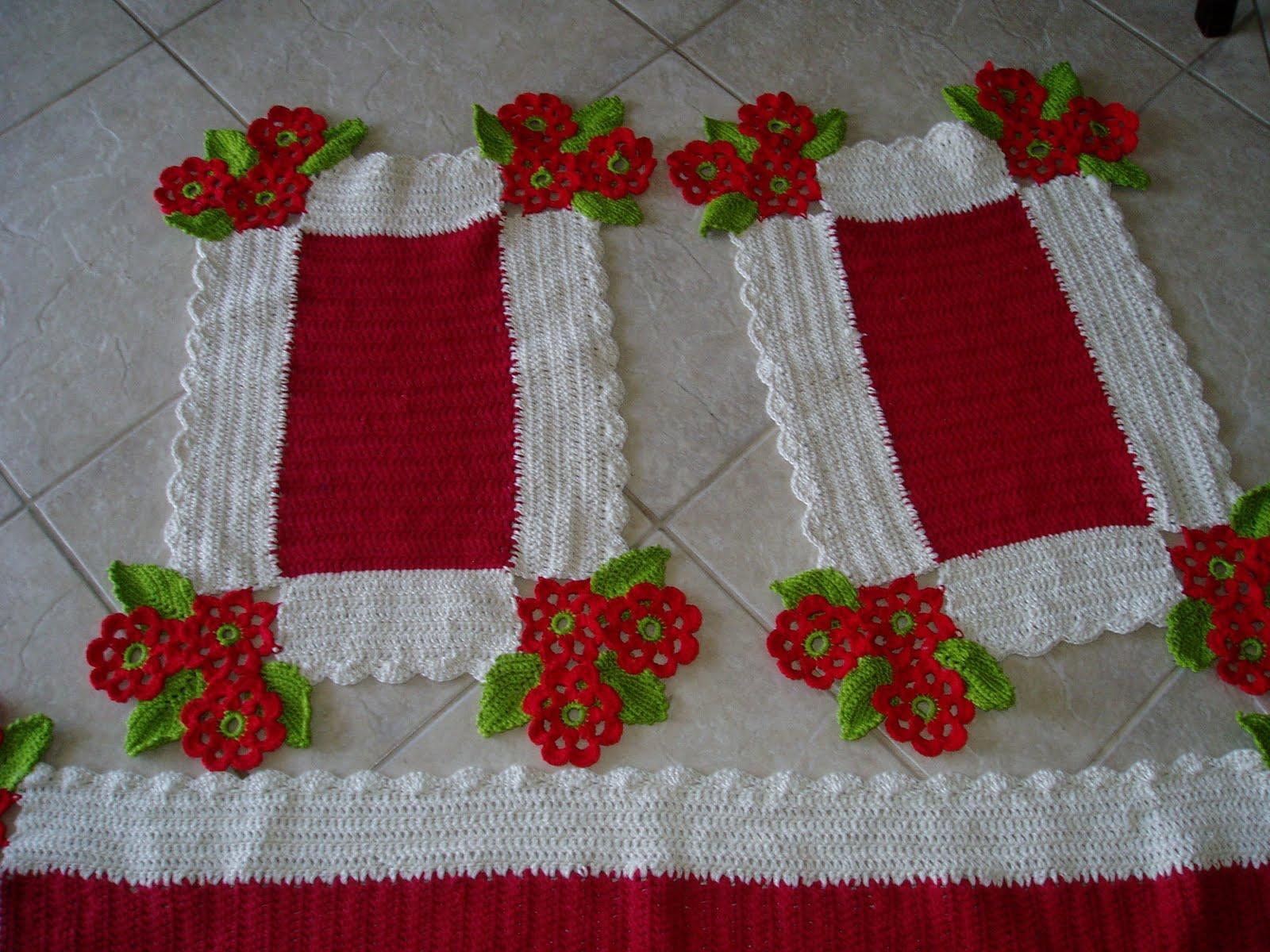 jogo de cozinha em croche 3 amores vermelho