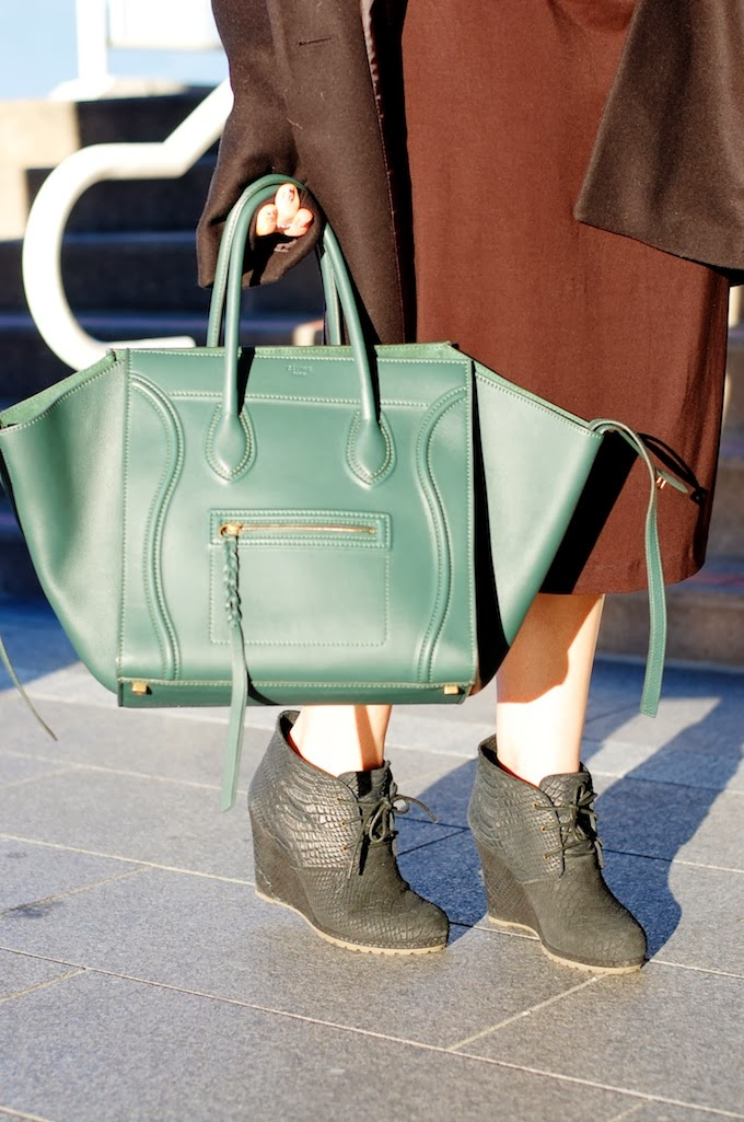 Green Celine Phantom and Rosegold snakeskin booties